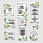 Digital File  Sweet Wedding Invitation Set Of Watercolor Floral White