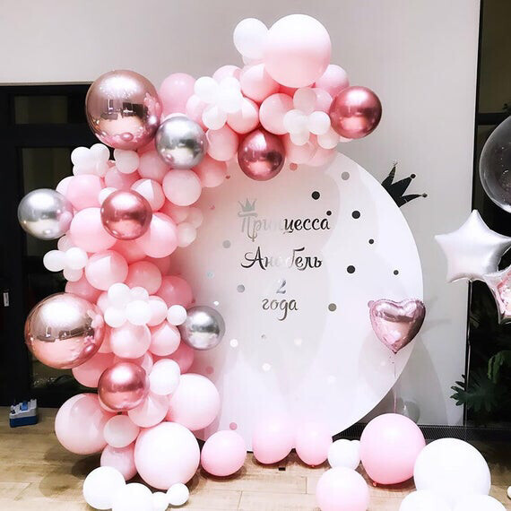 139pcs Balloon Garland Kit Pastel Macaron Pink Latex Balloon 4D Silver Rose Gold Balloons Party Decor Birthday Wedding Shower Party Supplies