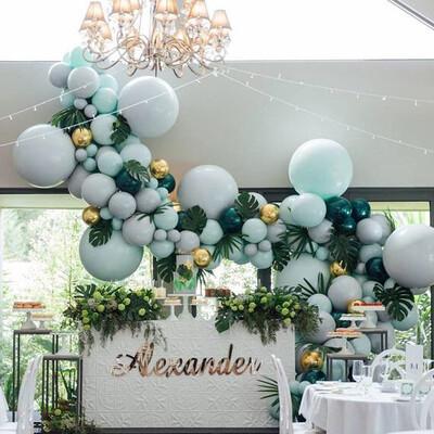192 pcs Double Layer Balloons Arch Kit Layer Macaron Pastel Latex Balloon Garland Dark Green Ballon Birthday Wedding Baby Shower Party Decor