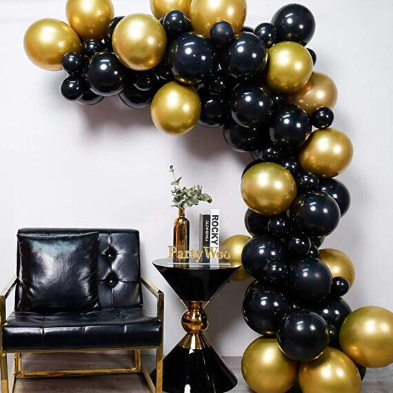 85pcs/lot DIY Latex gold Black Balloons Garland Arch Gold Marble Baby Shower Birthday Party Wedding Decor