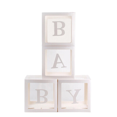 A Box Of  Customized Letter DIY Transparent Box Balloon for Boy Girl Baby Shower Wedding Birthday Party Caja Decoration Backdrop