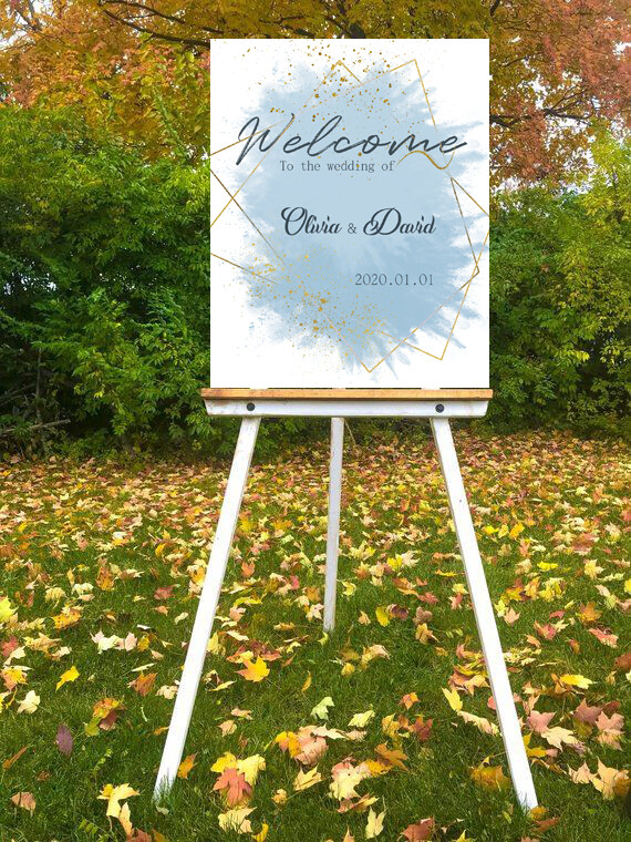 Digital File blue wedding luxury gold border Wedding welcome sign