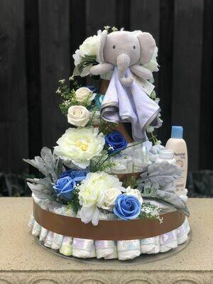 4 Tier, Blue Elephant Diaper Cake for Baby Boy, Diaper Cake Centerpiece, Baby Boy Diaper Cake
