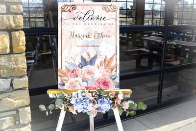 Digital File wedding luxury water floral Wedding welcome sign