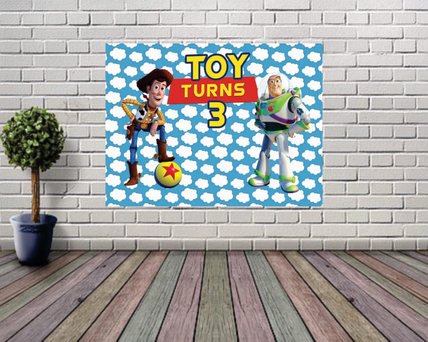 Toy Story Backdrop Birthday Party Event Backdrop Photography 3rd Birthday