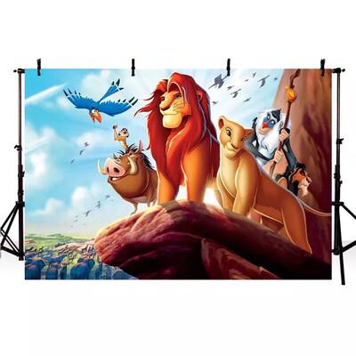 Photography Background Custom Cartoon The Lion King Simba Boys Birthday  Backdrop Decor Photocall Backdrop Photo Studio Banner