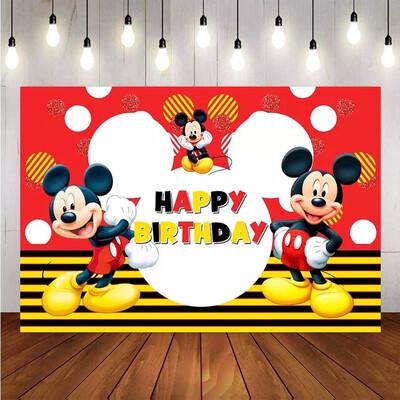 NeoBack Photography background Cartoon Mickey Mouse Custom Child Birthday Party Photo Studio Backdrops Banner