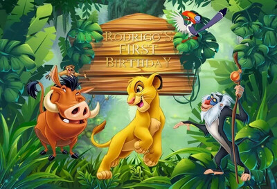 birthday backgrounds for photography studio Jungle party Lion King cartoon forest kid backdrop