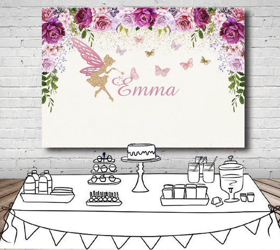 ink Purple Flowers Photography Backdrop Custom Text Fairy Butterfly Girls Birthday Party Backgrounds Photo