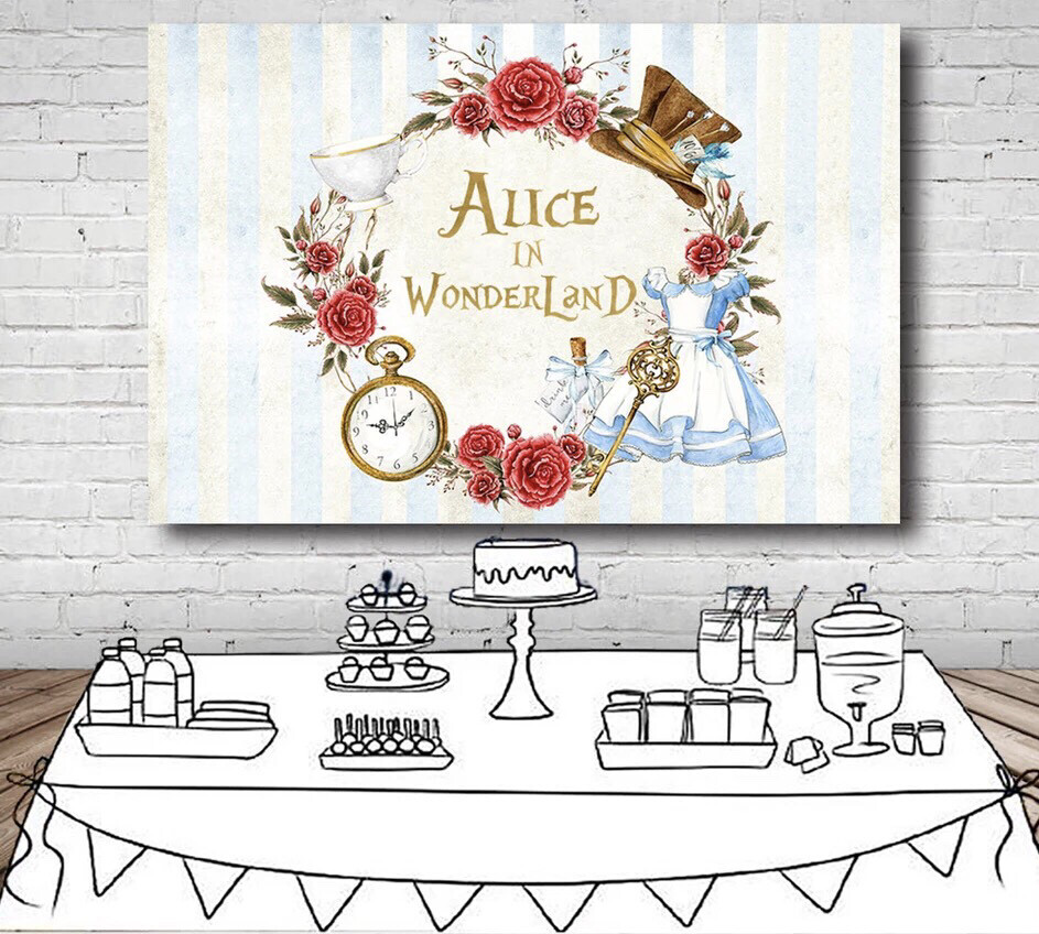 Alice In Wonderland Party Backdrop Flowers Dress Stripes Girls Birthday Backgrounds For Photo Studio