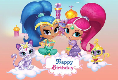 Shimmer and Shine Photography Backdrop For Girls Customized Birthday Party Backgrounds For Photo Studio