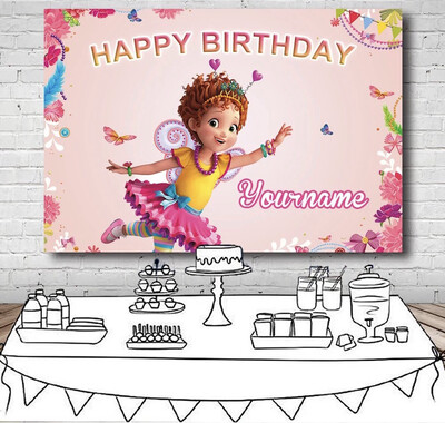 Pink Theme Fancy Nancy Girls Birthday Party Backdrop Flower Butterfly Photography Backgrounds For Photo Studio