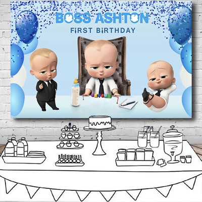 Little Men Boss Baby Birthday Party Backdrop For Photo Studio Blue Theme Balloons Photography Backgrounds