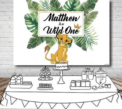 Baby Lion King Backdrops Photo Studio White Green Tropical Leaves Boys Birthday Party Backgrounds