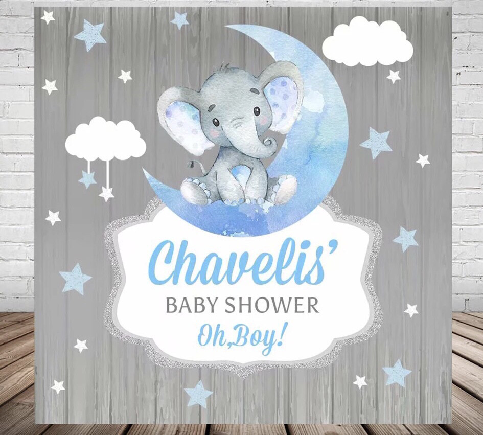 Elephant Boys Baby Shower Backdrop Blue Moon Stars Clouds Grey Wood Children Birthday Party Photography Backgrounds