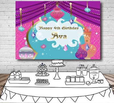 Shimmer Shine Purple Curtain Pattern Flowers Pots View Backdrop Sparkle Girls Birthday Party Backgrounds