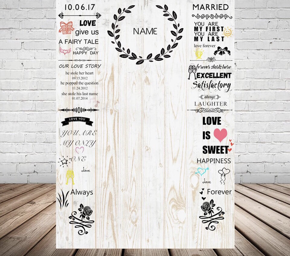 Photography Backdrop For Weddings White Wood Backgrounds For Photo Studio Custom Name Date