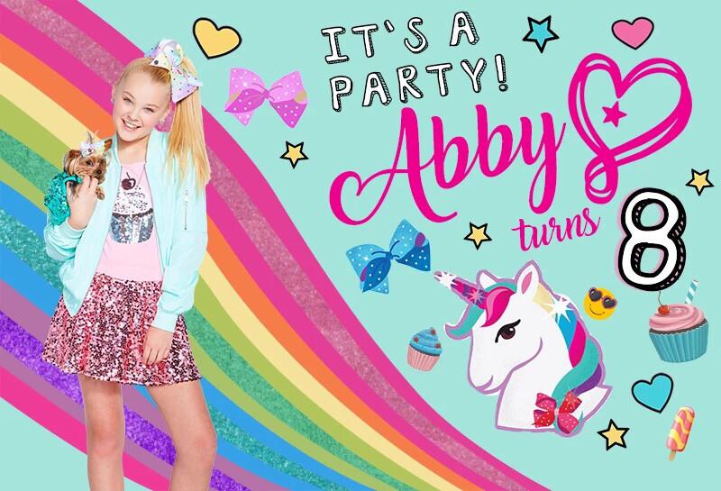 Rainbow Unicorn Cupcake Bow Birthday Party Backdrop Jojo Siwa Celebration Photograph Backgrounds Customized