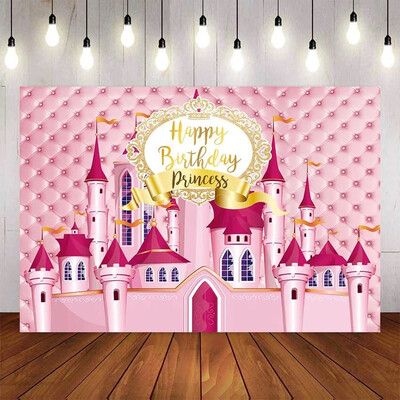 Backdrop for Photography Princess Pink Castle Headboard Happy Birthday Children's Photographic Backgrounds