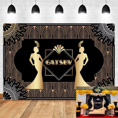 Great Gatsby Backdrop Retro Flapper Girl Art Decor Background Adults Birthday Party Celebration Booth Backdrop Photo Studio