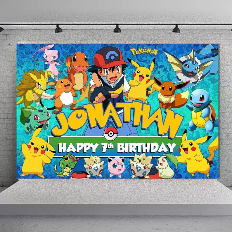 custom Pokemon the Internet party happy birthday baby child photo background photography