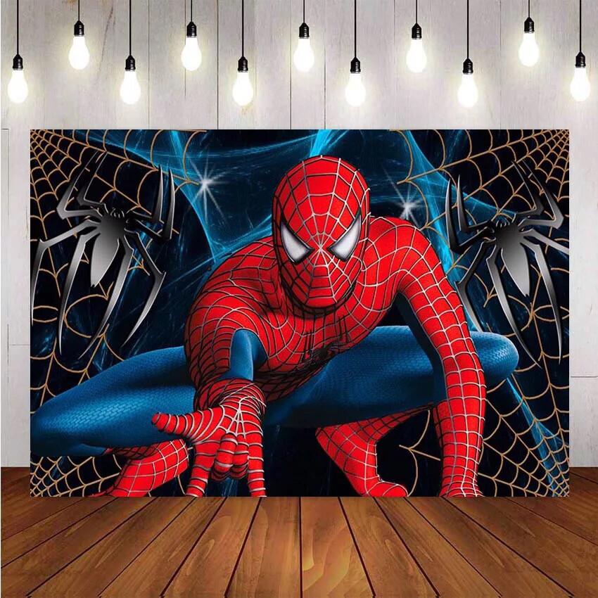 Spiderman Photography Backdrop Superman Boy Children Birthday Party Background Banner Photo Studio Backdrop Photo Prop