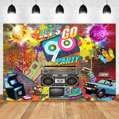 NeoBack 90's Party Backdrop Graffiti Hip Pop Neon Glow 90s Background Graffiti Wall Music 90th Themed Party Banner Decoration