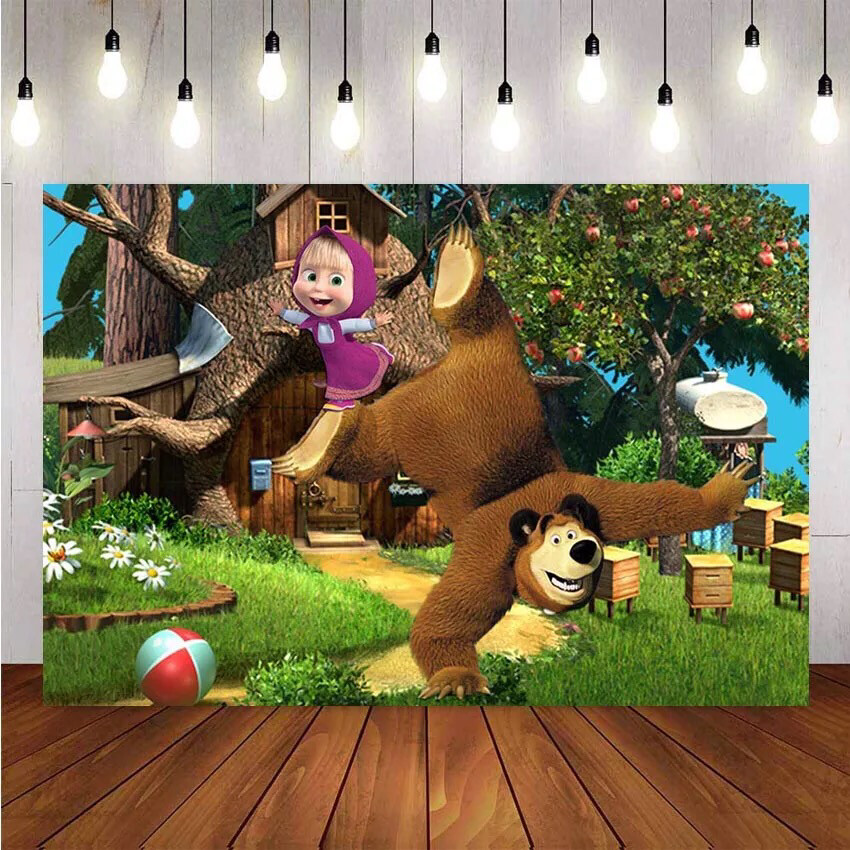 Photography Backdrop Cartoon Birthday Jungle Adventure Theme Party Background Apple Tree Girl Bear Backdrop Photo Studio Banner