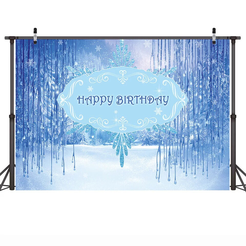 Neoback Birthday Party Winter Onederland Photography Backdrop Frozen-Winter Birthday Cake Table Decor Background Blue Theme