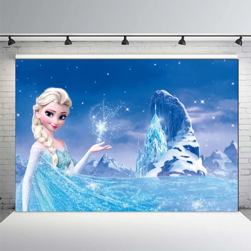 Photography Backdrop Frozen Queen Elsa Castle Palace Snowy Mountain Birthday Party Backgrounds for Photo Studio Photo Background