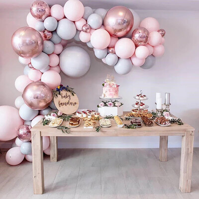 Macaron Balloons Arch  Pastel Grey Pink Balloons Garland Rose Gold Confetti Globos Wedding Party Decor Baby Shower