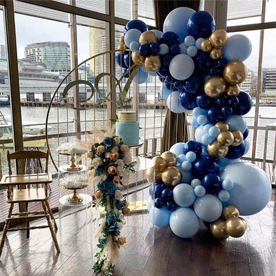 Macaron Blue Balloon Garland Arch Kit Night Blue Gold Baby 1st Happy Birthday Party Decoration Balloons