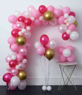 Hot Pink Gold Latex Metallic Pearlescent Balloon Garland set for Wedding, Baby Shower