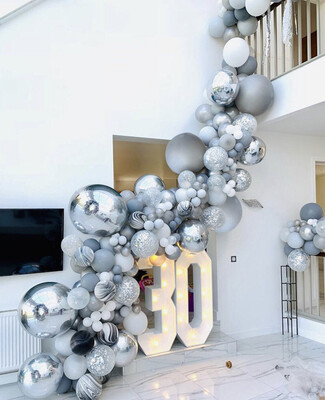 Agate Balloons Garland Kit Black White Gray Balloon Arch Confetti Globos Birthday Wedding Baby Shower Party Decorations