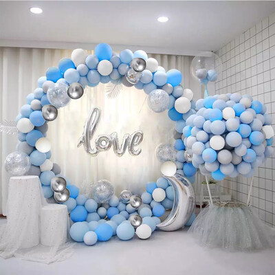 Latex Balloon Garland Kit with Blue White Silver Confetti Balloons and Metallic Balloons for Birthday Baby Shower