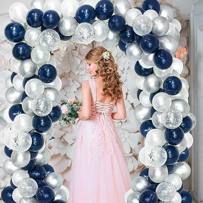 Navy Blue White Sliver Balloon Arch ,Party Balloon Arch,Craft Supplies & Party ,Wedding Balloon Kit,Party Balloon Decoration,Craft Supplies