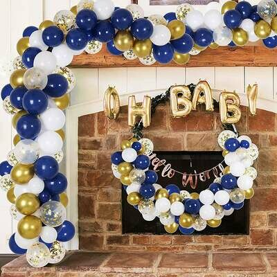 Pastel Macaron Blue Gold White Balloons Garland ,Craft Supplies & Party ,Wedding Balloon,Party Balloon Decoration,Craft Supplies