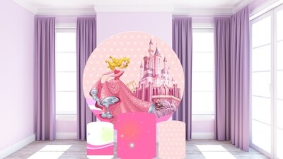 Princess Aurora round backdrop and cylinder covers