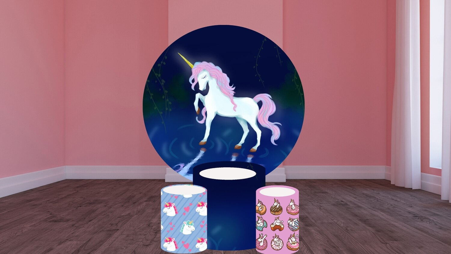 Unicorn round backdrop and cylinder covers