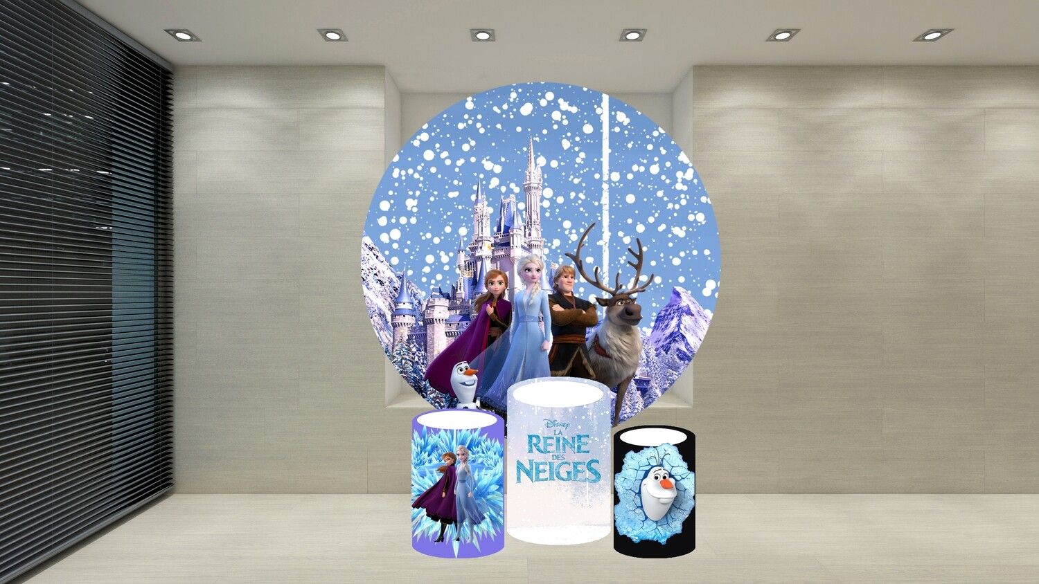 Frozen 2 round backdrop and cylinder covers