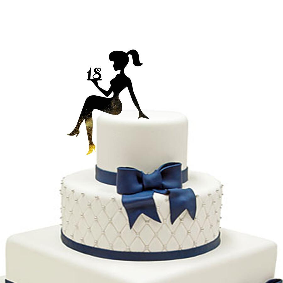 Digital file A girl sitting on a cake Cake Topper