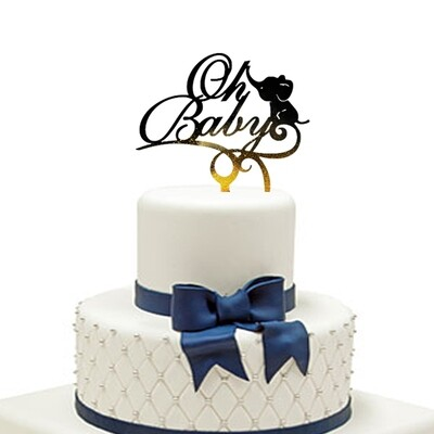 Oh baby with elephant Cake Topper