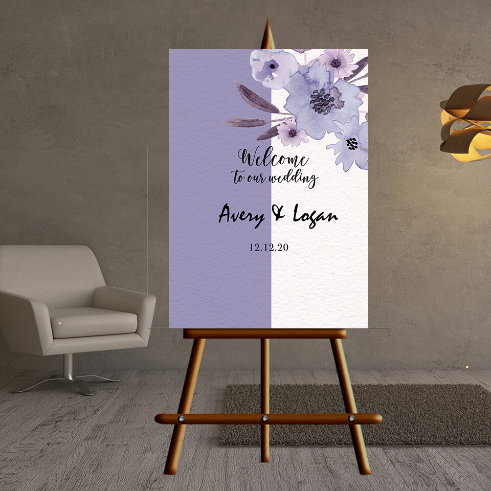 Digital File Purple Hand Painted Elegant Big Flower Wedding Wedding welcome sign