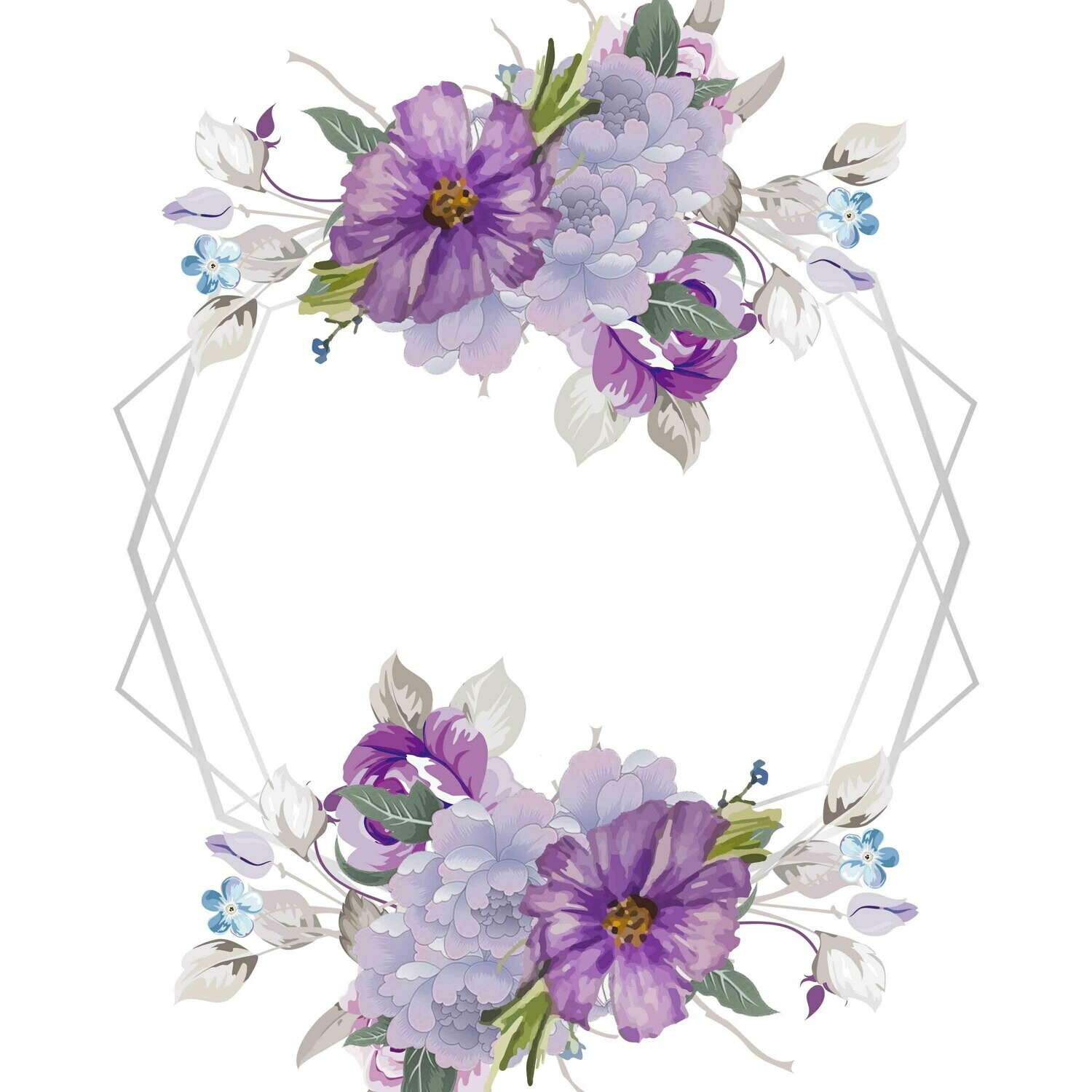 A set Elegant Purple Watercolor Flower Floral Frame Wedding Invitation Decoration