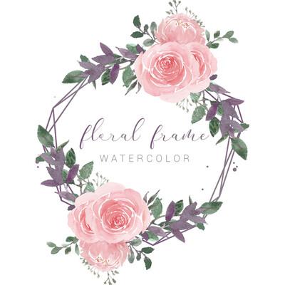 Elegant Purple Them Frame Watercolor Flowers Illustration