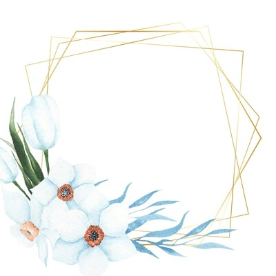 Beautiful Hand Painted Watercolor Light Blue Flower