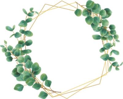Digital file eucalyptus leaf frame style