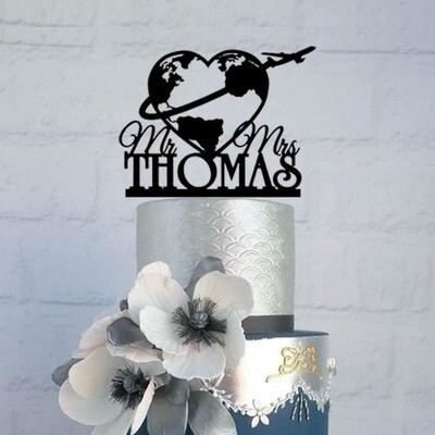 Travel Themed Custom Wedding Cake Topper Mr and Mrs World Map Airplane Cake Topper Personalized Unique Cake Top Decorations
