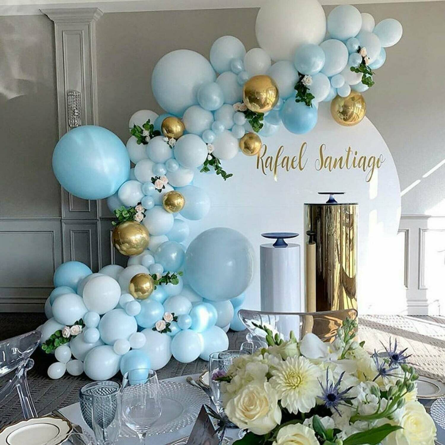131 pcs DIY Pearly Light Balloons Garland Kit White Maca Blue Balloon Arch 4D Gold Globos For Birthday Wedding Baby Shower Party Decorations
