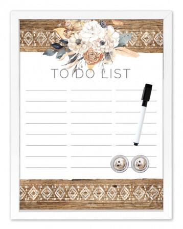 Framed Magnetic Whiteboard To Do List - Barn Owl